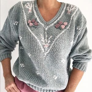 Hand Knitted Silver Blue Sweater W/Knit Appliqué